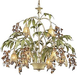 Elk Lighting ELK Lighting 86054 Huarco 8-Light Chandelier in Seashell and Amber Glass