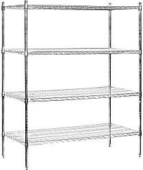 Salsbury Industries Stationary Wire Shelving Unit, 60-Inch Wide by 74-Inch High by 24-Inch Deep, Chrome