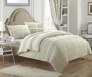 Chic Home 3 Piece Chloe Sherpa Lined Plush Micro Suede Comforter Set, Queen, Beige
