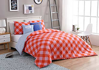 VCNY Home VCNY Home Board 4 Piece Checkered Reversible Bedding Comforter Set, Twin XL, Coral