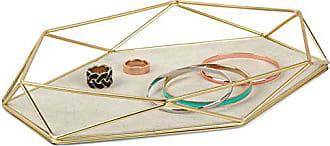 Umbra Prisma Tray, Geometric and Brass Plated Jewelry Storage, 11 Length x 7.25 Height x 1.5 Width, Matte