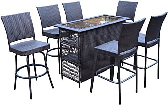 Oakland Living Elite Wicker 7 Piece Outdoor Bar Set, Mens, Patio Furniture - 90053BT-90054BC2-90064BS4-7-CF