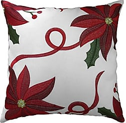 Violet Linen Decorative Christmas Embroidered Poinsettias Design Cushion Cover, 18 x 18, White