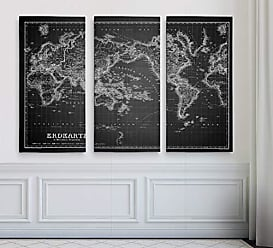 WEXFORD HOME Vintage World Map IV Grey 3 Panel Gallery Wrapped Canvas Wall Art, 32x48, Multicolor