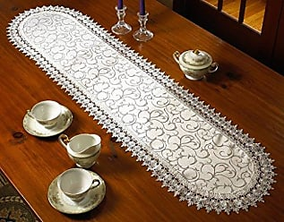 Violet Linen Flower Bow Embroidered Lace Vintage Design Table Runner, 14 x 36, White