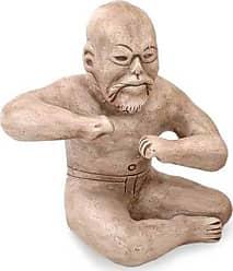 Novica Ceramic figurine, Olmec Wrestler