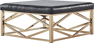Weston Home Libby Faux Leather Tufted Coffee Table Ottoman with Geometric Base - 68E662BS-4M3[OT]PUC1