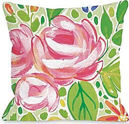 One Bella Casa 74543PL16 Pillow 16 x 16 x 3 Multicolored/Green