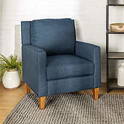 Walker Edison WE Furniture AZH35UPPBBU Accent Chair, Blue