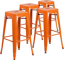 Flash Furniture 4 Pk. 30 High Backless Orange Metal Indoor-Outdoor Barstool with Square Seat