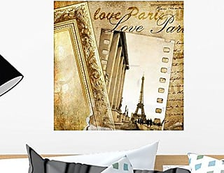 Wallmonkeys Parisian Vintage Photoalbum Wall Decal Peel and Stick Graphic WM299046 (18 in H x 18 in W)