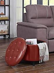 Convenience Concepts 163060BRG Designs4Comfort Round Ottoman, Burgundy Faux Leather