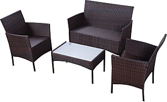 Costway 4 pcs Outdoor Patio Rattan Wicker Cushioned Sofa Table