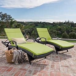 Noble House Christopher Knight Home 296793 Salem Outdoor Chaise Lounge, Brown with Green