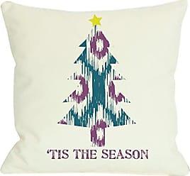 One Bella Casa Tis the Season Ikat Tree Reversible Throw Pillow, 16x 16, Ivory/Teal/Purple