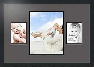 Art to Frames Collage Photo Frame Double Mat with 1 - 11x14 and 2 - 5x7 Openings and Satin Black Frame