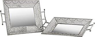 Urban Trends Collection Urban Trends Metal Rectangular Tray with Mirror Surface, 2 Handles and Pierced Sides Electroplated Finish (Set of 2), Silver