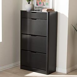 Baxton Studio Cayla Shoe Cabinet - SESC214-BLACK-SHOE CABINET
