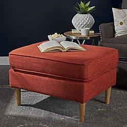 Christopher Knight Home 302602 Samuel Mid Century Modern Muted Orange Fabric Ottoman
