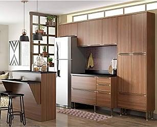 Multimóveis Cozinha Compacta Calábria 6 Peças 13 Portas Nogueira Multimóveis