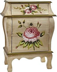 Nearly Natural 7012 Antique Night Stand w/Floral Art Nightstand, Beige/Pink/Gold