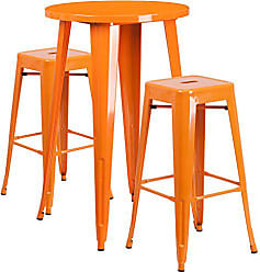 Flash Furniture 24 Round Orange Metal Indoor-Outdoor Bar Table Set with 2 Square Seat Backless Stools