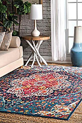 nuLOOM RZDR08B Glowing Bissful Florette Area Rug, 4 x 6, Blue