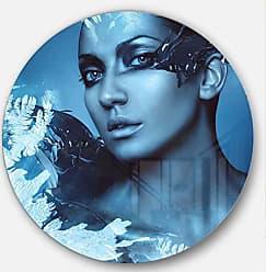 DESIGN ART Designart Woman with Snow Splash-Art Portrait Metal Artwork - Disc of 38 38x38-Disc of 38 inch, Blue