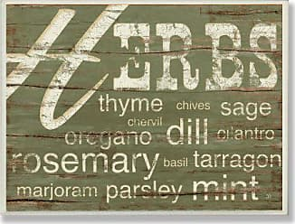 The Stupell Home Décor Collection Stupell Home Décor Herbs And Words Green Kitchen Wall Plaque, 10 x 0.5 x 15, Proudly Made in USA