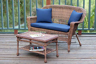 Jeco W00205-LCS011 Wicker Patio Love Seat and Coffee Table Set with Blue Cushion, Honey