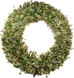 National Tree Company 72 in. Wintry Pine Red Berry Pre-Lit Wreath - WP1-300-72W