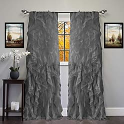 Sweet Home Collection 2 Pack Window Panel Sheer Voile Vertical Ruffled Waterfall Curtains, 84 x 50, Gray