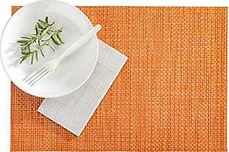 Restaurantware RWA0440 Amalfi Basketweave Papaya Vinyl Woven Placemat 16 x 12 6 count box 16.0L x 12.0W x 0.2H Orange