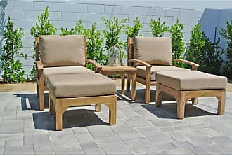 Willow Creek Designs Outdoor Willow Creek Designs Huntington Teak 3 Piece Deep Seating Patio Set with End Table Canvas Heather Beige - WC-17-5422
