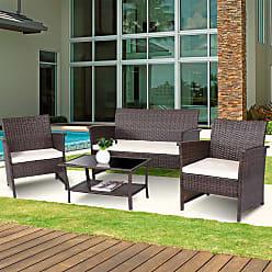 Overstock Costway 4 PCS Outdoor Patio Rattan Furniture Set Wicker Sofa Table Shelf Cushion