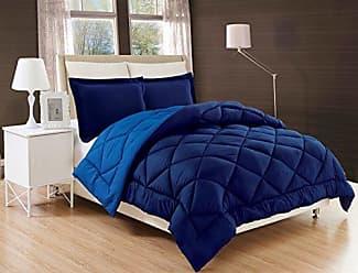 Elegant Comfort All Season Comforter and Year Round Medium Weight Super Soft Down Alternative Reversible 3-Piece Comforter Set, King, Navy Blue/Light Blue
