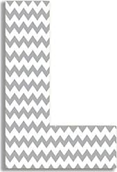 The Stupell Home Décor Collection The Stupell Home Decor Collection Gray Chevron Hanging Wall Initial, 18-Inch, L