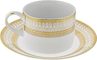10 Strawberry Street Iriana 8 Oz Can Cup and Saucer, Set of 6, Gold
