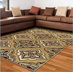 Home City Inc. Superior Crawford Collection Area Rug, 8mm Pile Height with Jute Backing, Gorgeous Mediterranean Tile Pattern, Fashionable and Affordable Woven Rugs - 8 x 10 Rug, Gold