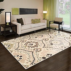 Home City Inc. Superior Designer Augusta Collection Area Rug, 8mm Pile Height with Jute Backing, Beautiful Floral Scalloped Pattern, Anti-Static, Water-Repellent Rugs - Beige, 8 x 10 Rug