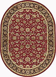 Tayse Davenport Traditional Oriental Red Oval Area Rug, 5 x 7 Oval