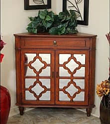 Heather Ann Creations The Frasera Collection Contemporary Style Wooden Double Door Floor Storage Living Room Corner Cabinet with 1-Drawer, Cherry