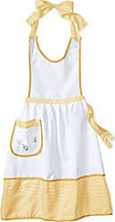 Violet Linen Elegant Embroidered Apron, One Size, Yellow