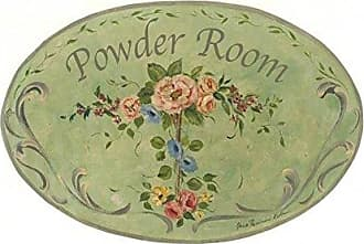The Stupell Home Décor Collection The Stupell Home Decor Collection Powder Room Green Floral Oval Bathroom Wall Plaque