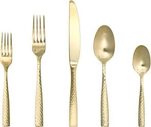Fortessa Lucca Faceted 18/10 Stainless Steel Flatware, 5 Piece Place Setting, Service for 1, Brushed Gold