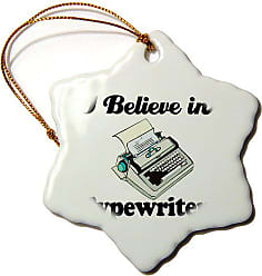 3D Rose 3dRose orn_105696_1 I Believe in Typewriters-Snowflake Ornament, 3-Inch, Porcelain
