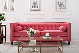 Jennifer Taylor Home Jack Collection Modern Hand Tufted Upholstered Sofa With 2 Bolster Pillows and Hand Finish Legs, Garnet Rose
