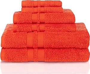 Home City Inc. Superior 100% Premium Cotton Ultra Soft 6 Piece Towel Set, 2 Bath Towels, 2 Hand Towels, and 2 Washcloths with Unique Honeycomb Double Border, Tangerine