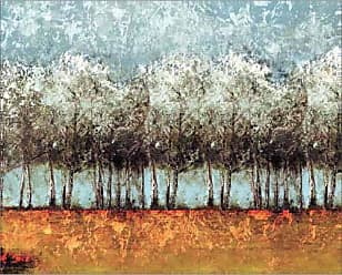 EAZL Distressed Texture Tree Line Bright Landscape Painting Blue & Orange Canvas Art by Pied Piper Creative