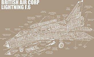 Inked and Screened SP_Avia F.6_KR_24_W British Air Corp-Lightning-F.6 Print, 18 x 24, Kraft-White Ink